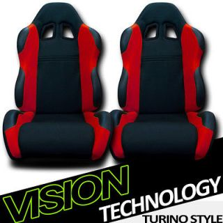 2x LH+RH Blk/Red Fabric & PVC Leather Racing Bucket Seats+Sliders Jeep