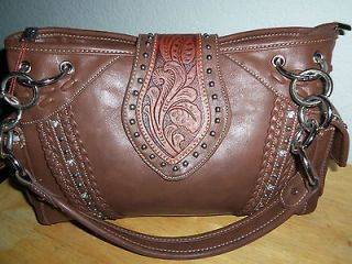 MONTANA WEST BROWN TOOLED LEATHER STUDS & RHINESTONES HANDBAG PURSE