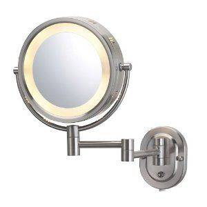 Jerdon Eclipse 8 Lighted Wall Mount Mirror, 5X 1X Magnification