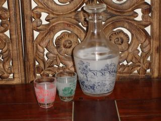 vintage FRENCH liquor DECANTER glass bar set TOILE SHABBY COUNTRY CHIC