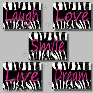 Zebra Print SMILE DREAM LIVE LOVE LAUGH Quote Art Girl Room Wall Decor