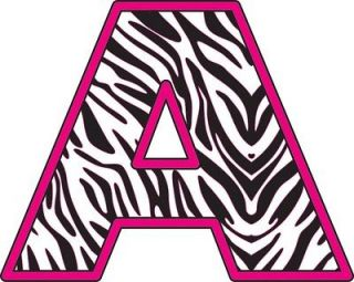 Hot Pink Zebra Alphabet Letters Removable Wall Sticker Vinyl Decal