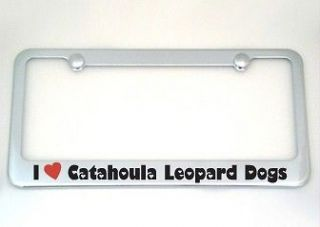 Love Catahoula Leopard Dogs Chrome License Plate Frame + Screw Caps