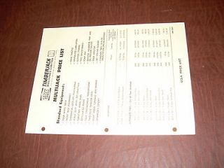TIMBERJACK PRICE SHEET 1969 MULTIJACK GRAPPLE SKIDDER BROCHURE