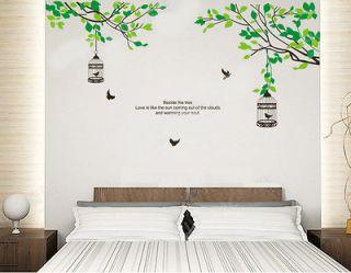 Lovers Tree & Birdcage Birds Wall Stickers Sticker Decor Decals Art