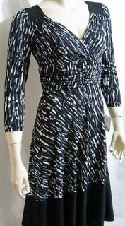 NEW DONNA MORGAN BLACK STRETCH JERSEY GRAY DRESS SZ 6 S SMALL $130