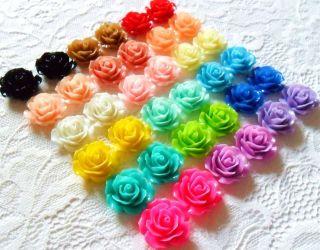 Rose Flower Earrings   Clip on or Stud   Vintage Style Rockabilly Cute