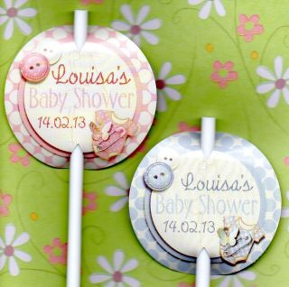 12 LUXURY PERSONALISED BABY SHOWER CAKE POP TAG Flag Label Badge