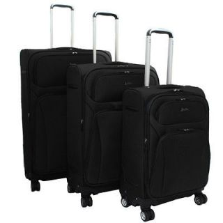 Lightweight 3 Piece Expandable Upright Spinner Luggage Set   Navy Blue