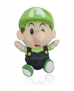 "Super Mario Bros Plush Doll   BABY LUIGI 7"" Green D"