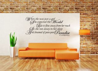 Paradise Song Lyrics Wall Vinyl Art Sticker Decal Lounge WA0153