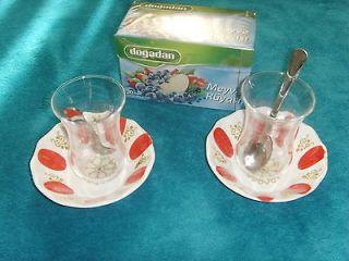 Turkish tea glass cups with mixed tea 20 tea bags