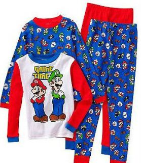 NWT NEW BOYS SUPER MARIO LUIGI AND YOSHI WINTER PAJAMAS SET 4 6 8 10
