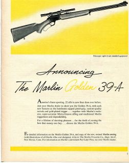 1957 Marlin Golden 39A 22 Rifle Gun Ad