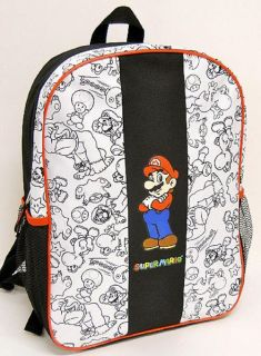 NWT Super Mario Nintendo Black & White Line Design Backpack 16x12x5