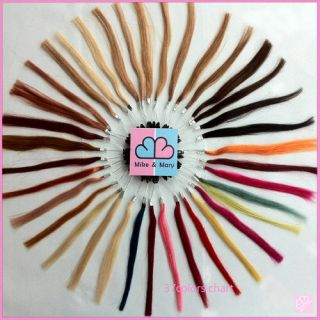 NEW 37 colors REAL REMY HUMAN HAIR COLOR CHART SWATCHES RINGS FREE