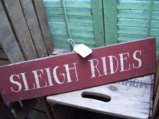 HP PRIMITIVE SLEIGH RIDES SIGN winter snow christmas hanger sled