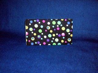 Black w/ Multi colored Dots   Fabric Checkbook Cover