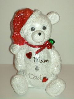 JINGLE BELLS CHRISTMAS TEDDY BEAR GRAVE MEMORIAL OUTDOOR ORNAMENT