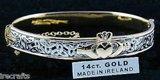 Gold Sterling Silver Claddagh Celtic Knot Bangle Bracelet Irish d r