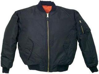 Jacket Nylon Bomber US Army Navy Marine Corps Air Force USMC Blk LG
