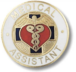 Medical Assistant Nurse Insignia Emblem Pin W/Safety
