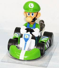 super mario bros luigi kart pull back car 4 figure toy