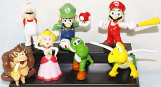 super mario bros yoshi luigi 2 figure toy lot 7