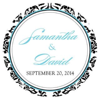 Wedding Personalized LOVE BIRD DAMASK Large Stickers for Favor