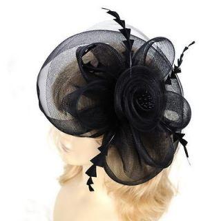 Feather Hair Mesh Hat Fascinator Clip Flower Church Ball Celebration