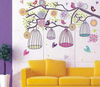 Mediterranean Style Happy Color Birdcage&Flower Tree Nursery Wall