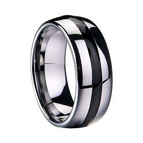 Tungsten Carbide Ring 8MM Elegant Men Black Inlay Wedding Band