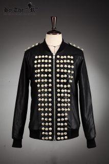 Mens Gold Button Napoleon Black Jacket Byther Korea Fashion