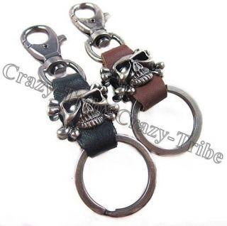 Mens Punk Heavy Duty Leather Belt Loop Skull Key ring chain k139 free