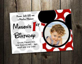 MICKEY MOUSE PARTY INVITATION BIRTHDAY PHOTO BABY CUSTOM INVITES   9