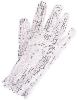 Michael Jackson White and Silver Sequin Glitter Glove