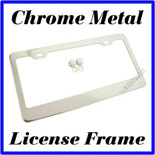 CHROME METAL LICENSE PLATE FRAME + FREE MATCHING SCREW CAPS TAG COVER