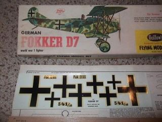 Guillows German Fokker D7 balsa wood flying model kit