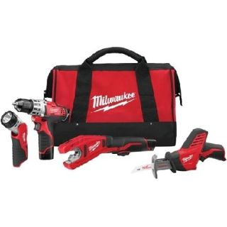 Milwaukee 2499 24 M12 12v Li ion 4 Tools Combo Kit (3/8 Drill Driver