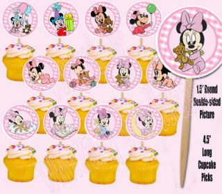 Baby Minnie Mouse 1.5 Cupcake Picks Cake Topper  12 pc
