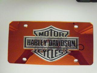 Harley Davidson Mirror Laser License Plate Black/Orange/Silver New
