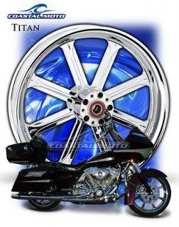 Titan Chrome Front Custom Motorcycle Wheel Package Streetglide