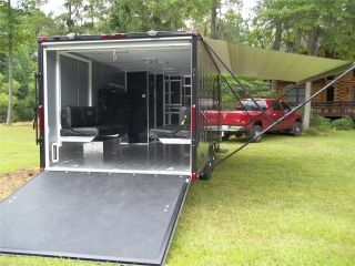 5x22 camper enclosed motorcycle cargo trailer toy hauler A/C work