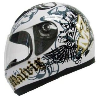 CROWN FULL FACE MOTORCYCLE SCOOTER HELMET STREET SPORT BIKE~M/MEDIUM