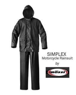 Mossi Simplex Black Motorcycle Rain Suit   Size MEDIUM