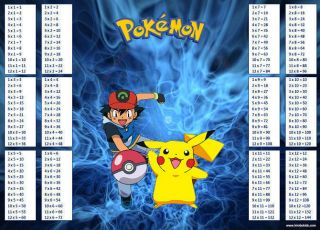 Ash & Pikachu Learning Maths Times Tables Multiplication Chart KS2