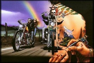 David Mann Art Motorcycle Canvasback Easyriders Print Chopper Skull