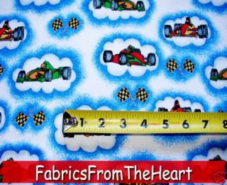 Indy Race Cars Checker Flag in Clouds 1 5/8 Yards Cotton FLANNEL