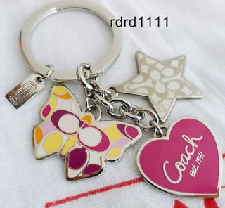 COACH Signature Butterfly Heart Star Multi Charm KEYCHAIN KEY RING FOB