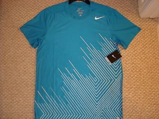 Showdown Crosshatch Tennis Crew Shirt Federer Nadal 425017 New   Small